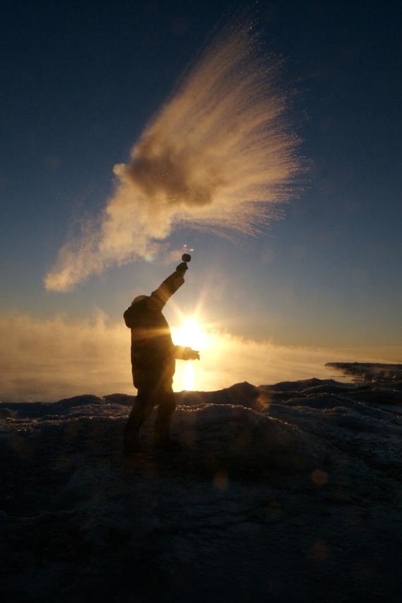 Sparky vaporizing water Minus 20 Duluth MN Stensaas IMG_006405