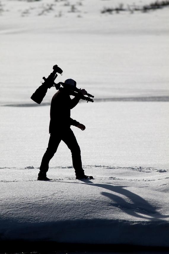 Ryan Marshik silhouette Nikon 600mm tripod Hayden Valley Yellowstone National Park WY IMG_8119