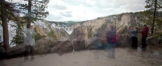 Yellowstone Falls long exposure visitors Yellowstone National Park WY IMG_7824