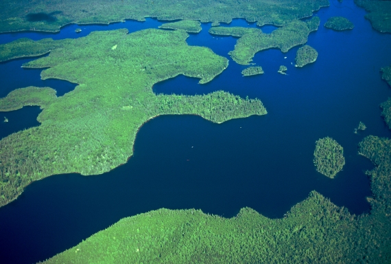 Aerial lake BWCAW August 1985