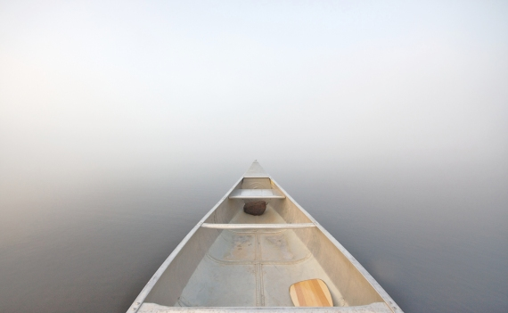 Fog and canoe Bower Trout Lk BWCAW Cook Co MN IMG_0008630