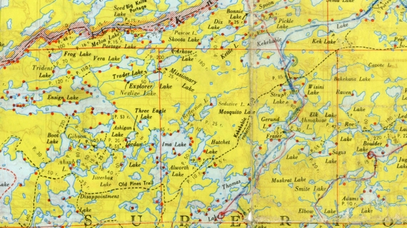 Old Fisher Map Boundary Waters BWCA map SMALL