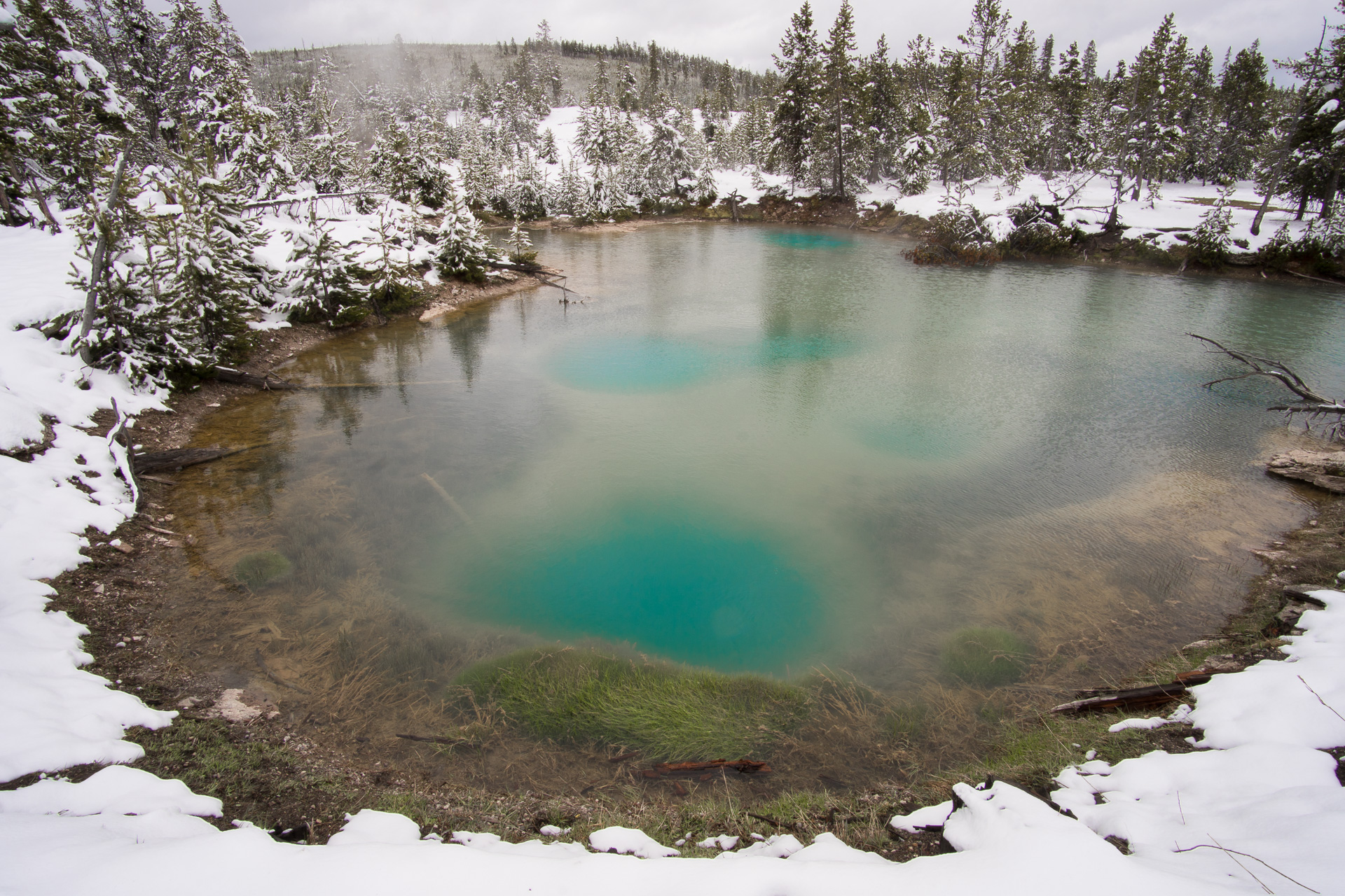 Thermal pool surrounded by snow Yellowstone National Park WY -05622
